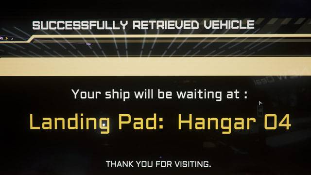 The ship recall console tells you what hanger to go to