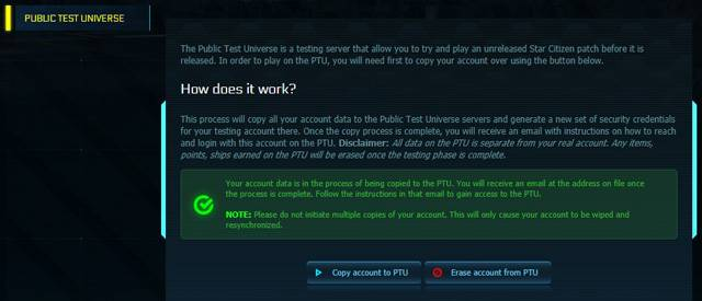 In My Account > Settings the left-hand pane is a list of items including the Public Test Universe. Select Copy Account to PTU