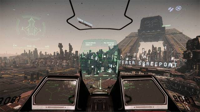 star citizen - out of the hanger and over Lorville