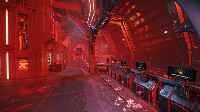 A view past the ship retrieval consoles toward a destroyed exit at Grim Hex.