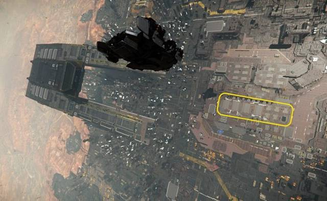 The location of the hangars at Lorville relative to the Central Business District.