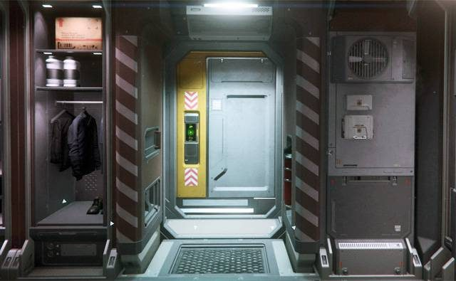 A view of the starting point inside a hab unit in Area 18