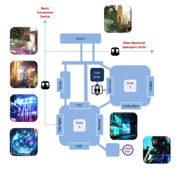 a map of Area 18 on Arccorp