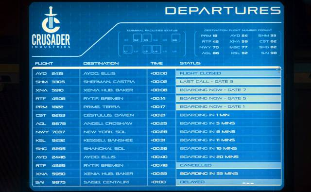 A flight departures board