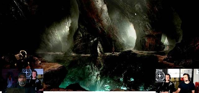A cave concept image featuring water, ferns and glow worms.
