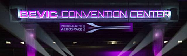 The Bevic Convention Center signage over the underpass as you approach.