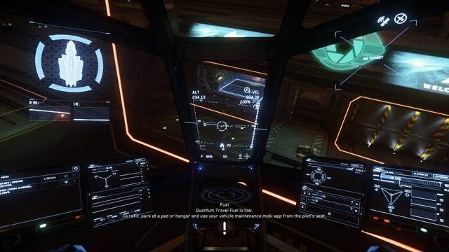 A view of a side opening hangar at Riker Memorial Spaceport on ArcCorp